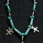 tuareg silver cross, amazonite and turquoise necklace