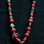 Bronze beads and amulet from ghana, padre bead necklace
